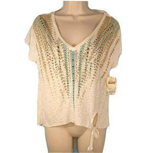 Mudd V-neck Top T-Shirt Beaded Women Size S Cream